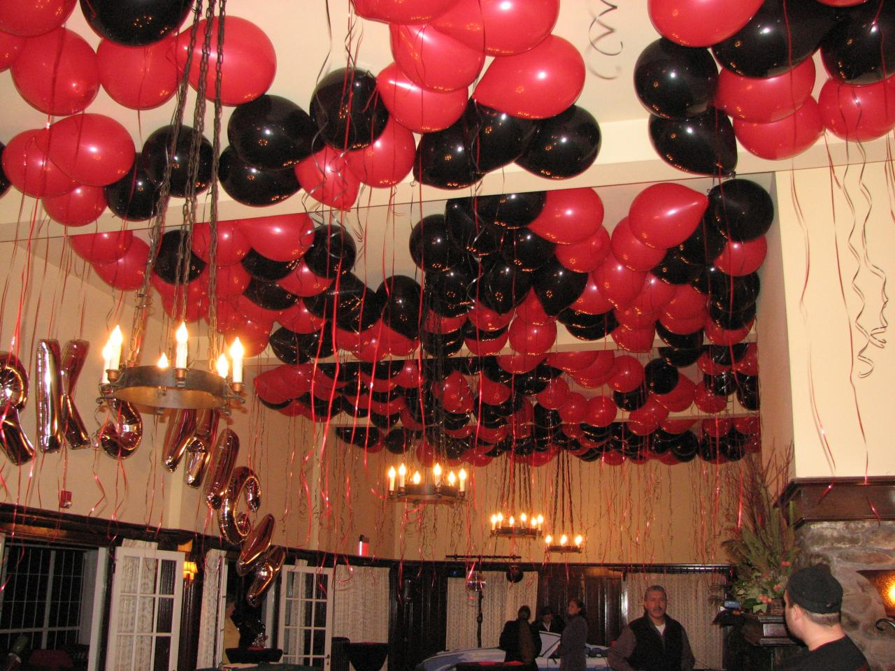 Balloon Letters Mardi Gras Centerpiece Shimmer Ceiling