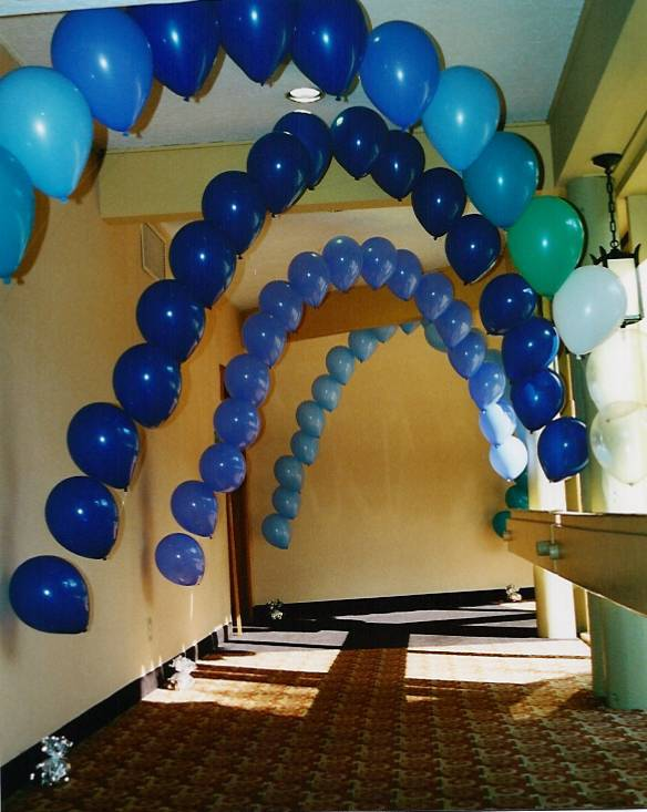 Another form of String of Pearls balloon arch is the mylar balloon arch